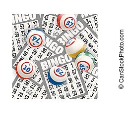 Bingo Background with Balls and Cards