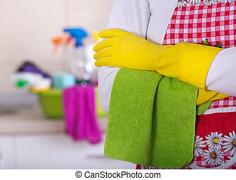 Cleaning lady with crossed arms - Close up of crossed arms...