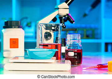 researchers work in modern scientific lab Preparation of...