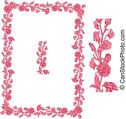 Set of ornaments in pink and red colors - decorative handdrawn floral border and frame with clove and sweet pea flowers, isolated on white background.