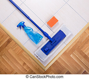 Mopping equipment on the floor - Close up of mopping...