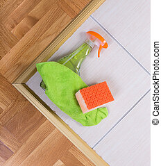 Cleaning supplies on the floor - Close up of cleaning tools...