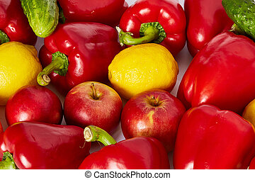 Many vegetable and fruits are on a white background