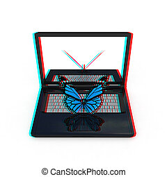 butterfly on a notebook. 3D illustration. Anaglyph. View with red/cyan glasses to see in 3D.