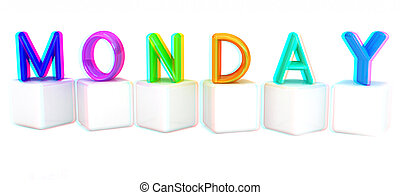 "Colorful 3d letters ""Monday"" on white cubes. 3D illustration. Anaglyph. View with red/cyan glasses to see in 3D."