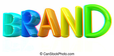 """brand"" 3d colorful text. 3D illustration. Anaglyph. View with red/cyan glasses to see in 3D."