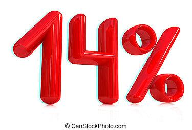3d red quot;14quot; - fourteen percent 3D illustration...