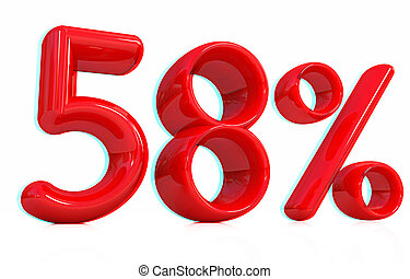 "3d red ""58"" - fifty eight percent. 3D illustration...."