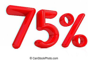 3d red quot;75quot; - Seventy-five percent 3D illustration...