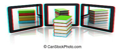 phones and colorful real books on white background 3D...