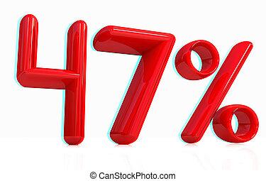 3d red quot;47quot; - forty seven percent 3D illustration...