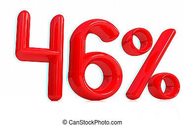 3d red quot;46quot; - forty-six percent 3D illustration...