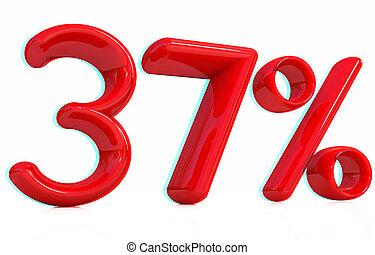 3d red quot;37quot; - thirty seven percent 3D illustration...