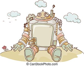 Steampunk Robot Top Hill Happy