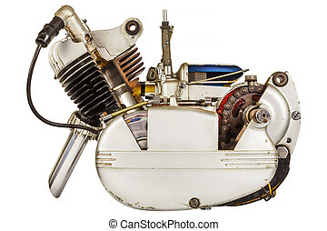 Vintage moped engine isolated on white - Vintage moped...