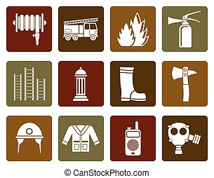 fireman equipment icon - Flat fire brigade and fireman...