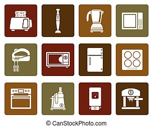 Kitchen and home equipment icons - Flat Kitchen and home...