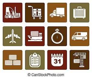 transportation icons - Flat logistics, shipping and...