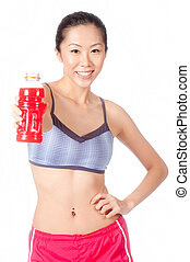 Woman With Sports Drink - An attractive asian woman with...