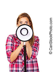 Screaming young woman holding megaphone.