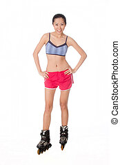Woman With Rollerblade - An attractive asian woman with...