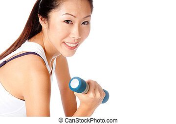 Fitness Woman - Attractive asian woman lifting weights on...