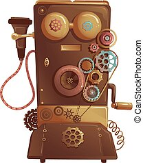 Steampunk Vintage Phone - Steampunk Illustration of a...