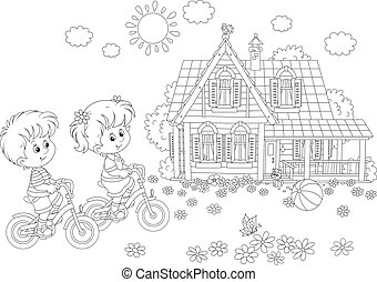 Children riding bicycles - A black and white vector...