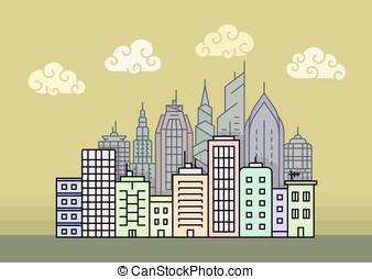 City skyline vector illustration - City skyline at evening...