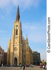 novi sad cathedral - NOVI SAD - APRIL 18: Crowds on main...