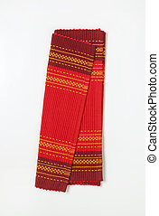 Red cotton ribbed placemat - Decorative red cotton ribbed...