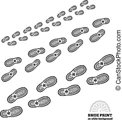Shoe print on white - Shoe print vector illustration on...