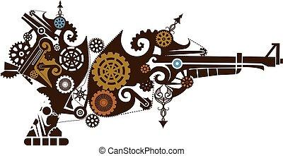 steampunk, diseño, arma de fuego