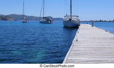 """""""yacht at wooden pier, knidos, datca, turkey"""""""