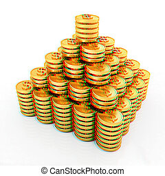 Gold dollar coins 3D illustration Anaglyph View with redcyan...