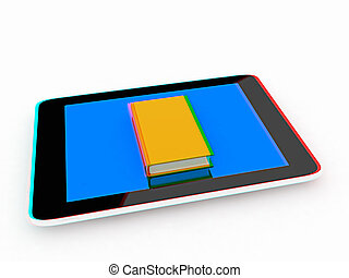 tablet pc and book 3D illustration Anaglyph View with...