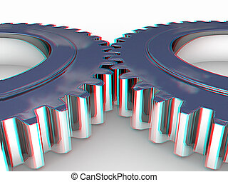 Gear set. 3D illustration. Anaglyph. View with red/cyan...