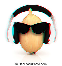 Ripe onion with sun glass and headphones front...