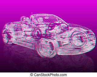 3d model car 3D illustration Anaglyph View with redcyan...