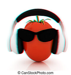 tomato with sun glass and headphones front quot;facequot; 3D...