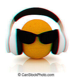oranges with sun glass and headphones front quot;facequot;...