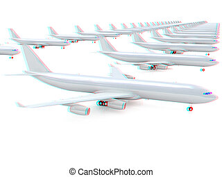 White airplanes 3D illustration Anaglyph View with redcyan...