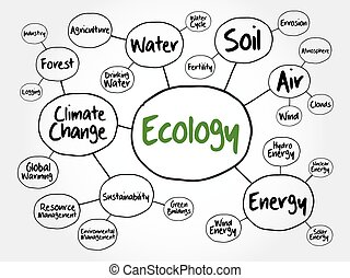 Ecology mind map flowchart concept for presentations and...