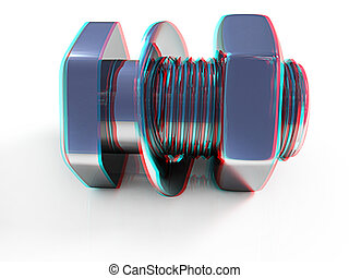 stainless steel bolts with a nuts and washers 3D...