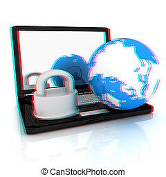 Internet security concept 3D illustration Anaglyph View with...