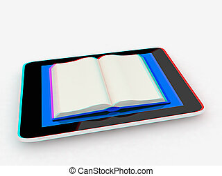 tablet pc and opened book 3D illustration Anaglyph View with...