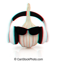 Head of garlic with sun glass and headphones front...