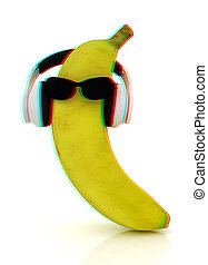 banana with sun glass and headphones front quot;facequot; 3D...