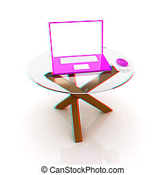 pink laptop on an exclusive table 3D illustration Anaglyph...
