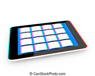 tablet pc and colorful real books 3D illustration Anaglyph...